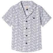 Emporio Armani White and Black Pattern Short Sleeve Shirt 5 years