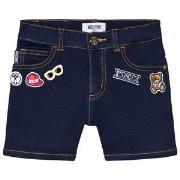 Moschino Kid-Teen Dark Wash Badge Branded Denim Shorts 10 years