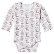 Hust&Claire Elephant Print Baby Body Lilac Ash 56 cm (1-2 mnd)