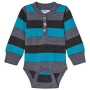 Geggamoja Wool Baby Body Grey/Blue 50/56 cm