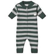 Lillelam Babysuit stripes Green 56 cm (1-2 mnd)