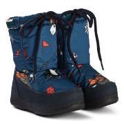 Dolce & Gabbana Blue Cartoon Print Snow Boots 37 (UK 4)