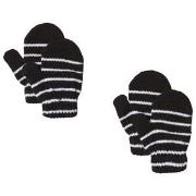 Lindberg 2-Pack Magic Stripe Wool Mittens Black 12 cm (1-3Y)
