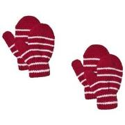 Lindberg 2-Pack Magic Stripe Wool Mittens Red 12 cm (1-3Y)