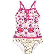 Hatley Pink and Gold Sarchi Colorblock Swimsuit 2 years
