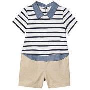 GAP Shirt Romper White/Beige 0-3 mnd