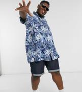 Tommy Hilfiger Big and Tall hawaiian print short sleeve shirt in blue