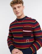 Tommy Hilfiger Collections crochet pocket crew neck jumper-Blue