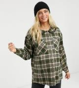 Pieces Maternity oversized shirt with prairie collar in dark green che...