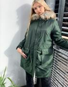 Pieces parka with faux fur hood in khaki-Green