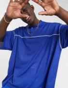 ASOS DESIGN oversized polo shirt in blue mesh
