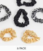 ASOS DESIGN pack of 6 skinny scrunchies with leopard detail-Multi