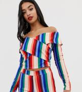 John Zack Petite off shoulder wrap crop top co-ord in multi stripe