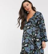 Glamorous Bloom volume sleeve wrap dress in bold floral-Black